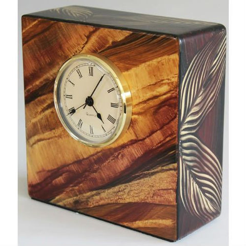 Desk Clock Painted Wood