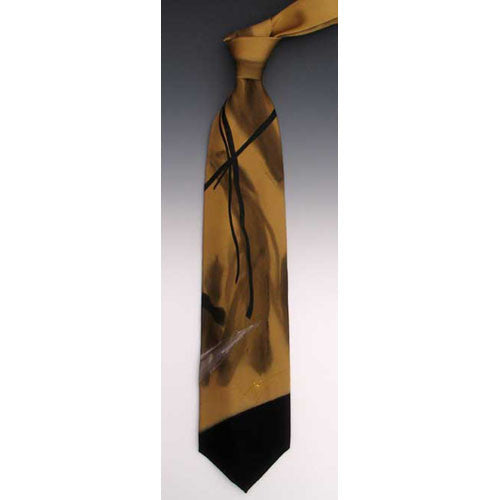 Gold and Black Silk Tie