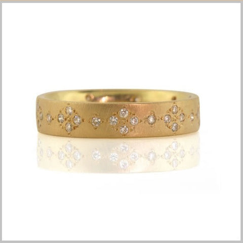 Gold Diamond Starburst Ring