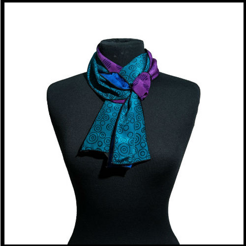 Peacock Colored Silk Scarf