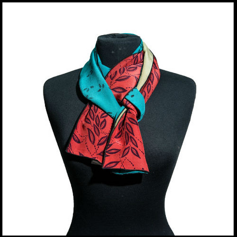Red Turquoise Silk Scarf