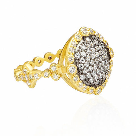 Two Tone Pave Disc Ring