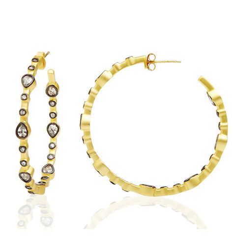 Teardrop Station Hoop Earrings