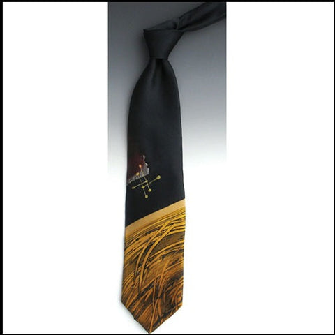 Apollo Black Gold Silk Tie