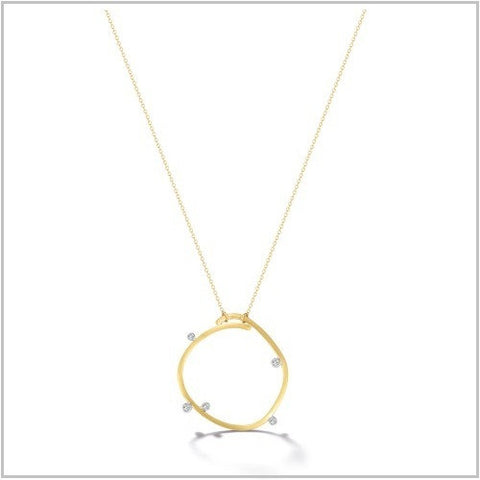 Gold Diamond Scribble Loop Necklace