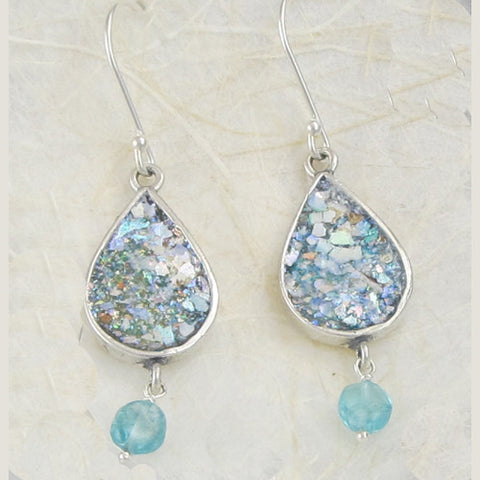 Roman Glass Apatite Earrings