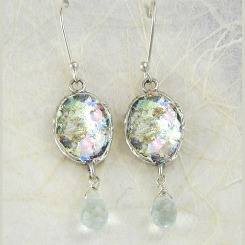 Glass Green Quartz Earrings