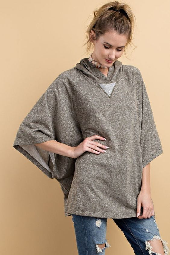French Terry Caped Hoodie Poncho