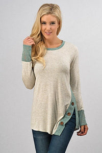 Button Side Color Block Tunic Style Top