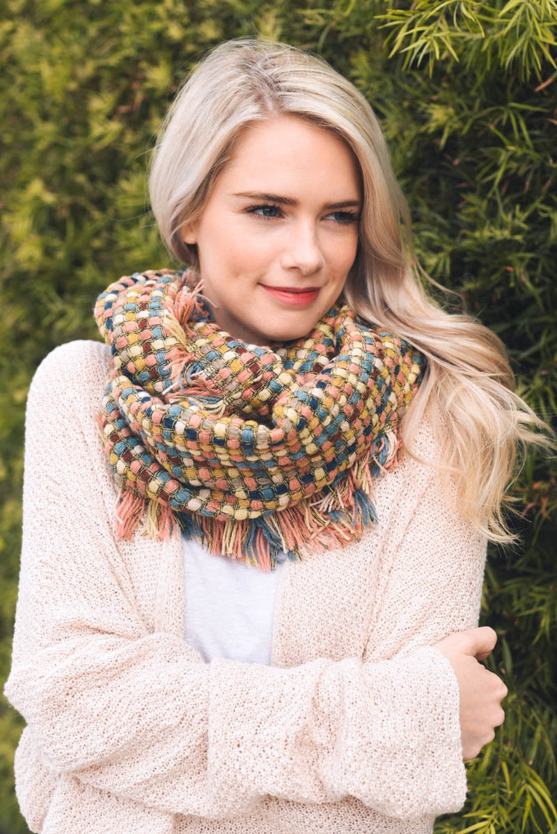 Multi-color Woven Frayed Infinity Scarf