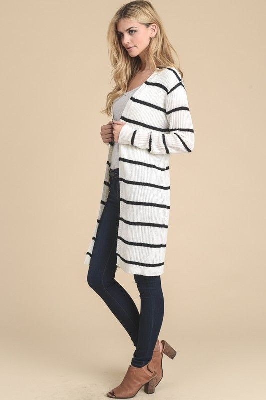 Narrow Striped Long Open Cardigan