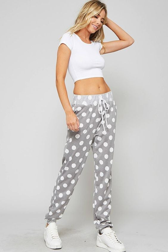 Polka Dot Terry Cloth Lounge Pants