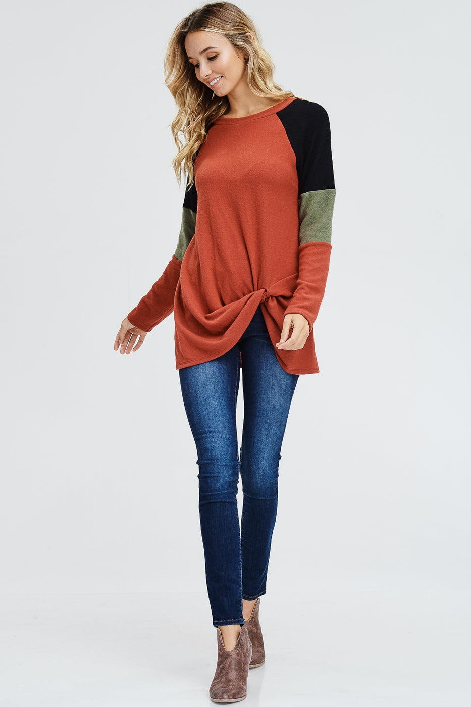 Color Block Front Twist Sweater