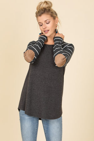 Charcoal Thermal Soft Brushed with Elbow Patch Top