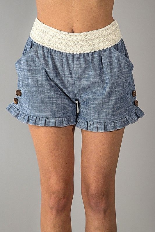 Chambray Ruffle Shorts with Button