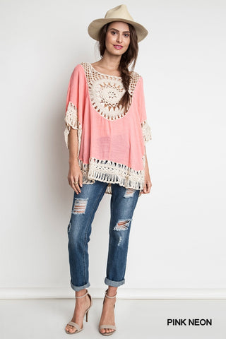 Boho Casual Crochet Knit Top