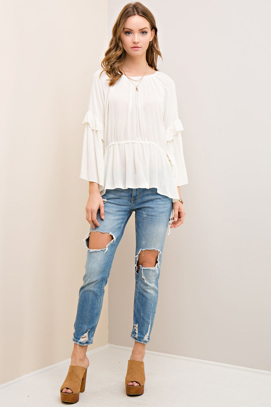 Solid Ruffle Scoop Neck Blouse