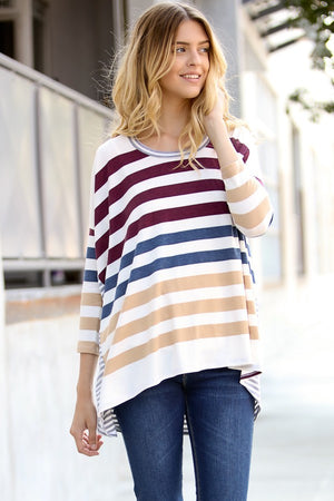 Long Sleeve Multi Color Stripe Top