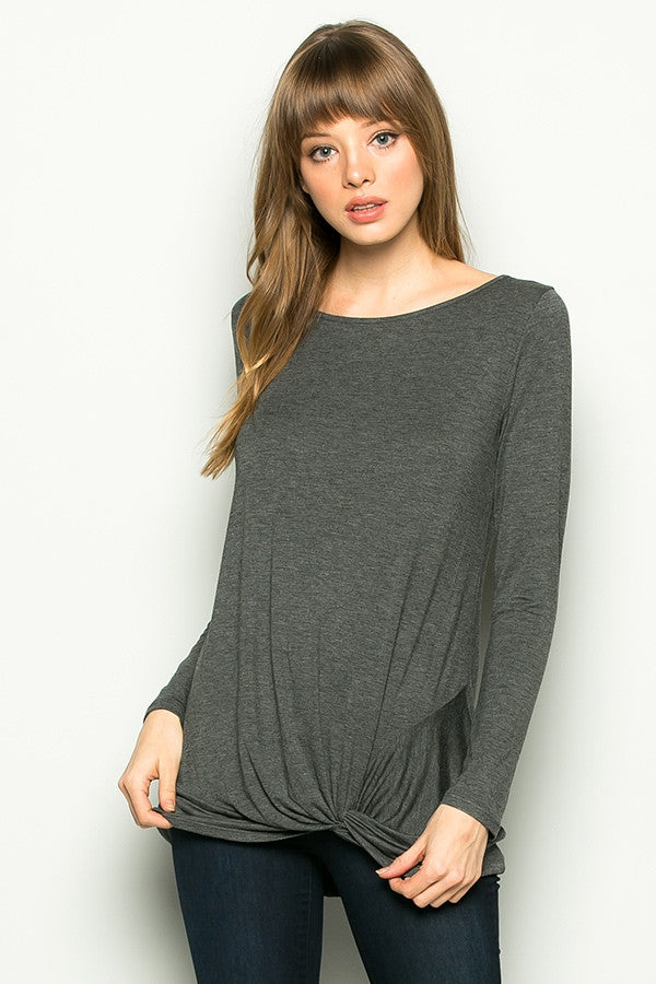 Long Sleeve Knotted Bottom Tunic