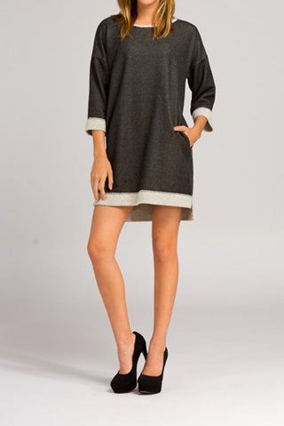 French Terry Loose Fit 3/4 Sleeve Dress With Side Pockets