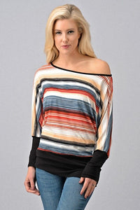 Multi-Colored Off The Shoulder Top