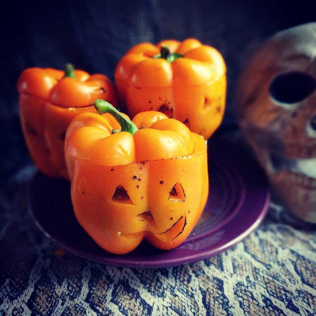 Halloween Stuffed Pepper Pumpkins