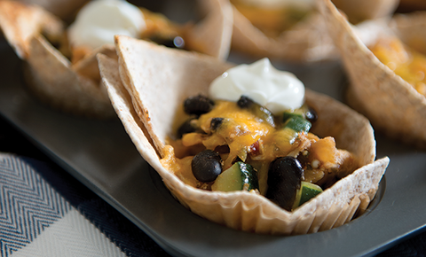 Easy Enchilada Cups in muffin tin