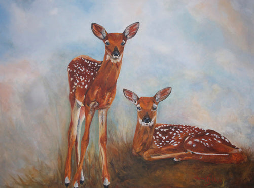 Bucky & Johnny Summer love Fawns Giclee print - Daydreams Studio