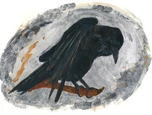 Raven Magic acrylic and silver leaf on paper by JoAnne Helfert Sullam