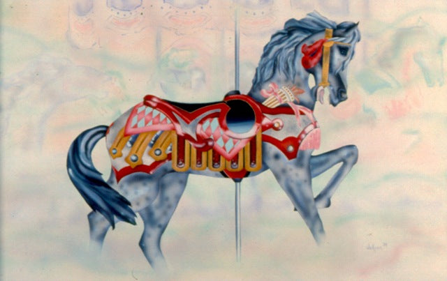 Red lover carousel horse - Daydreams Studio