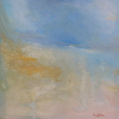 A touch of gold Abstract landscape painting - Daydreams Studio