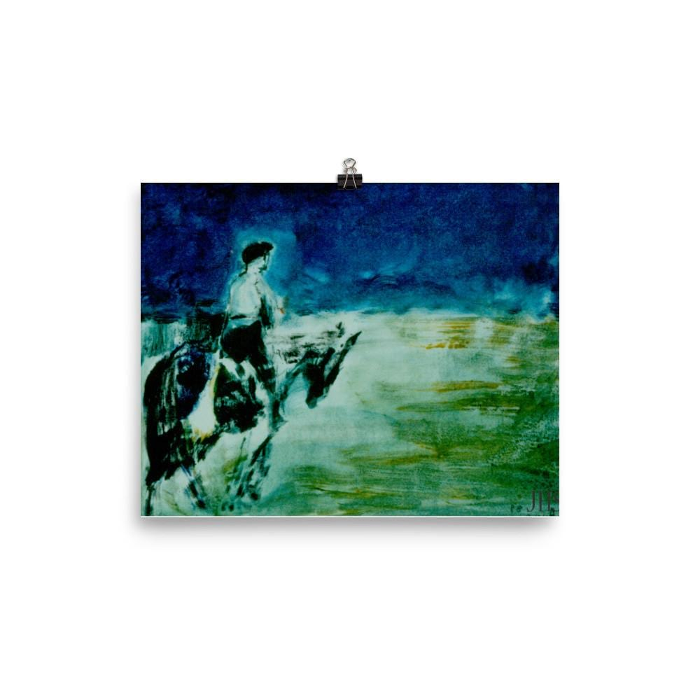 Blue Horse Rider Poster Print - Daydreams Studio
