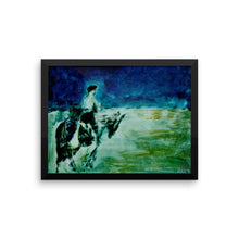 Blue Horse Rider Poster Print Framed poster - Daydreams Studio