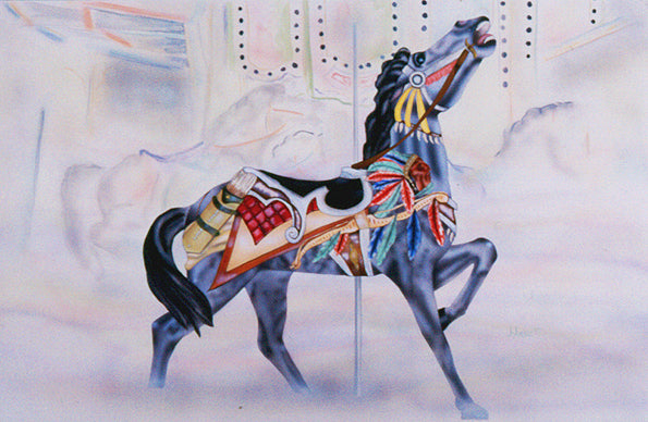 Indian head carousel horse - Daydreams Studio