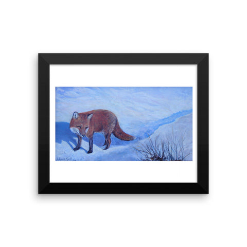 Winter Fox Framed photo paper poster