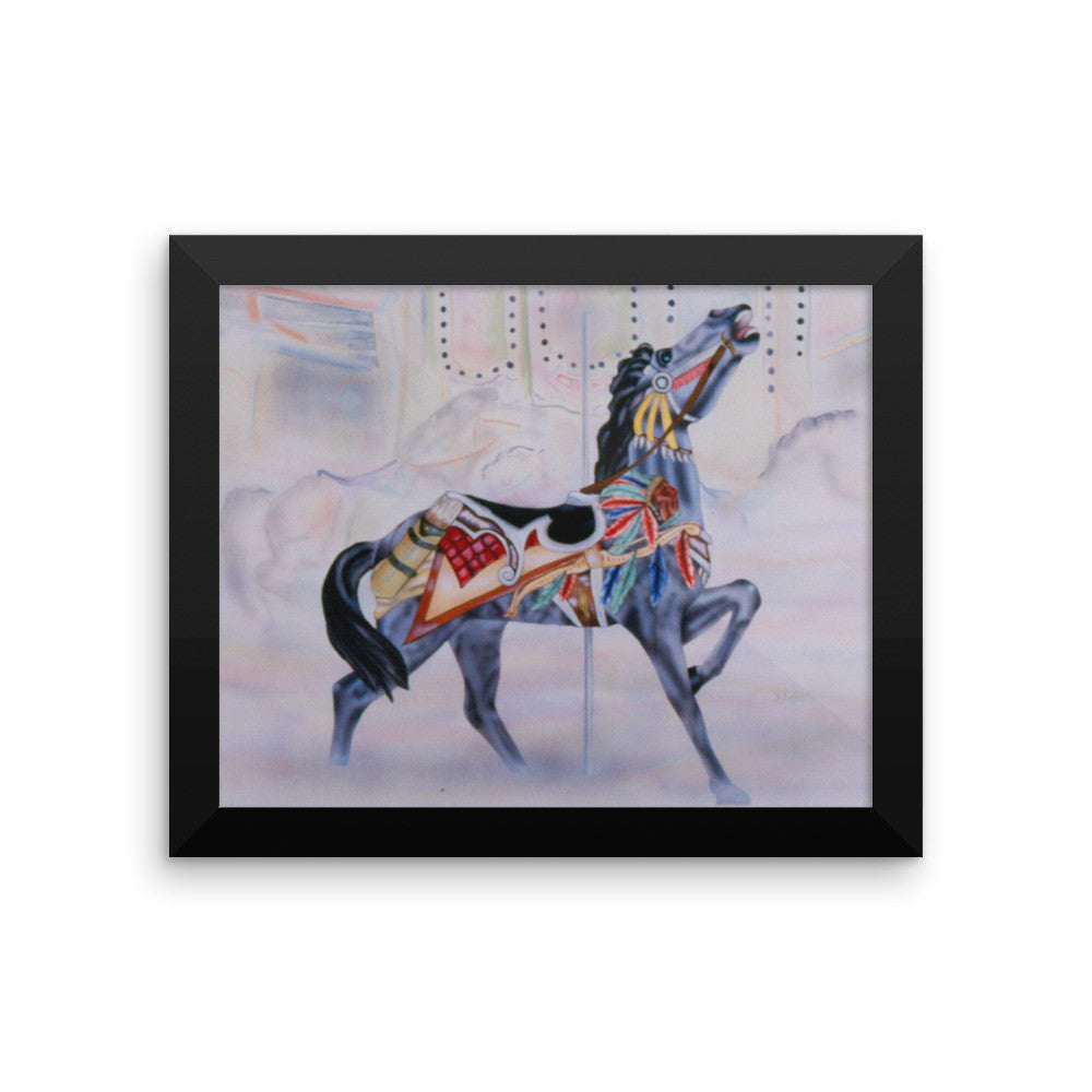 Indian carousel horse Framed poster print - Daydreams Studio