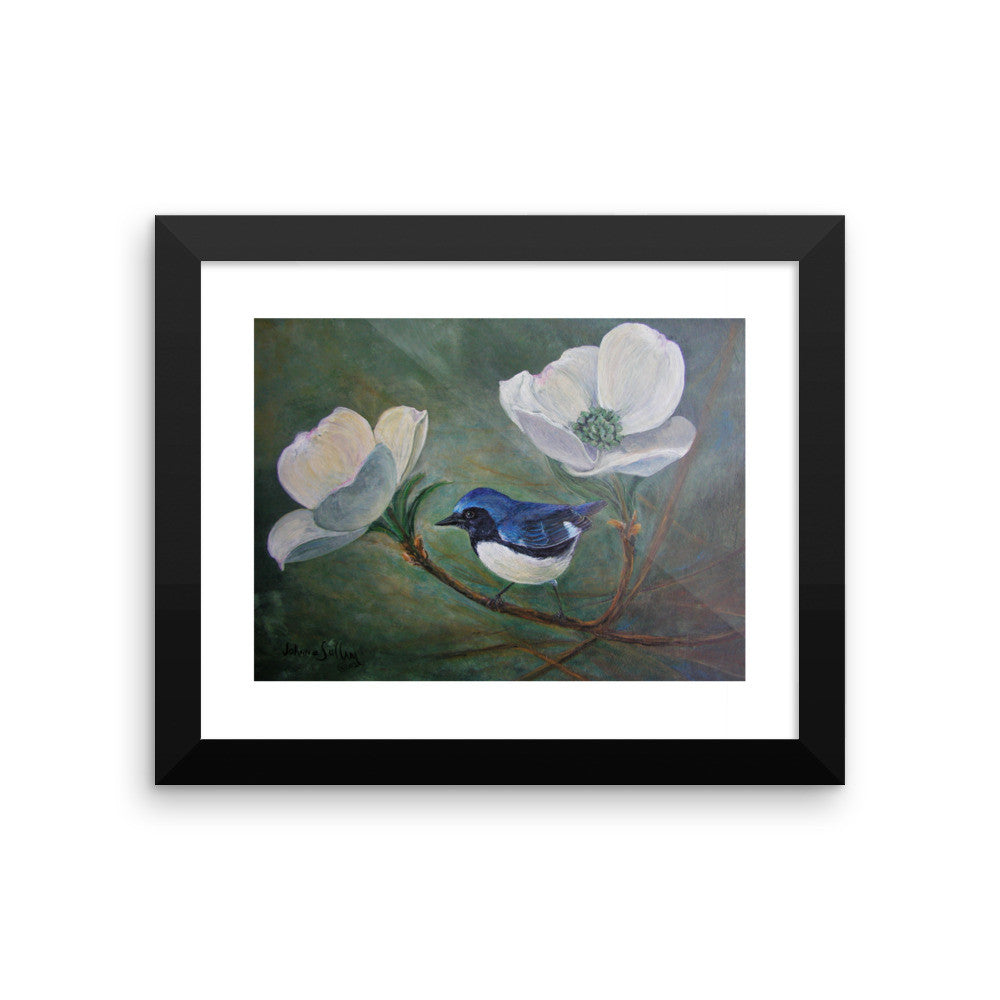 Framed walbler and Dogwood photo paper poster - Daydreams Studio