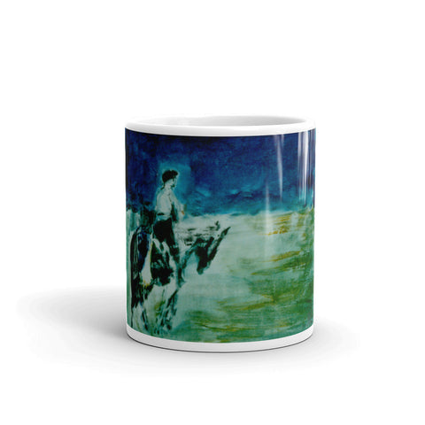 Blue horse rider mug made in the USA