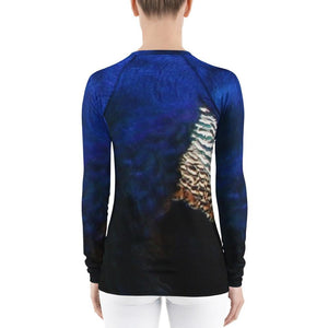 Women's  peacock Rash Guard - Daydreams Studio