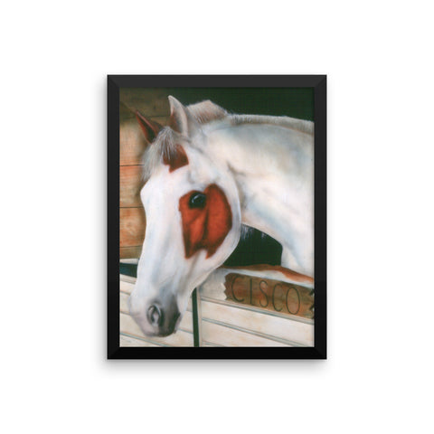Cisco horse in a barn by JoAnne Helfert Sullam This framed poster, printed on thick, durable, matte paper.