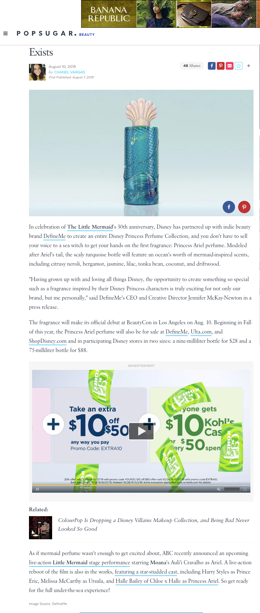 Popsugar Feature of Little Mermaid Ariel Fragrance by DefineMe