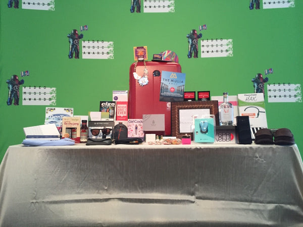 Table with merchandise at MTV's VMA Official Celeb Gift Bag event.