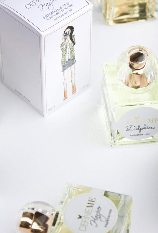 DefineMe Fragrance Mist Harper, Sofia Isabel, Delphine, Clara & Payton displayed on a white table.