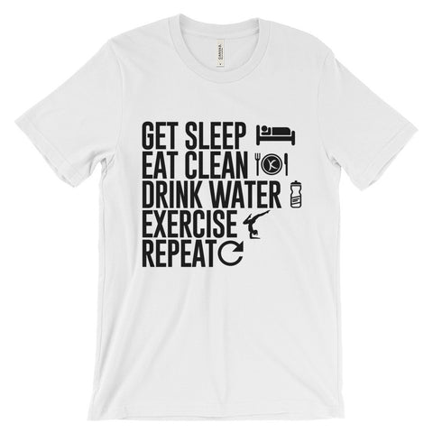 Get Sleep•Eat Clean•Drink Water•Exercise•Repeat. Get 50% OFF TODAY! - Kai Fit Life, T-Shirts