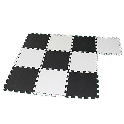 GSFY-10 Piece Eva Foam Puzzle Exercise Mat Interlocking Floor Tiles -- White and Black