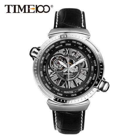 Maverick- Dual Time Zone Genuine Leather