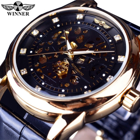 Winner- Royal Diamond Design- Black Gold Watch- Montre Homme - Skeleton Watch Company