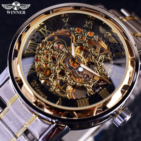 Transparent Gold Watch - Luxury Relogio Montre Homme Mechanical Skeleton Watch - Skeleton Watch Company