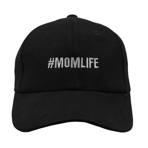 #MOMLIFE Dad Hat - Black Suede