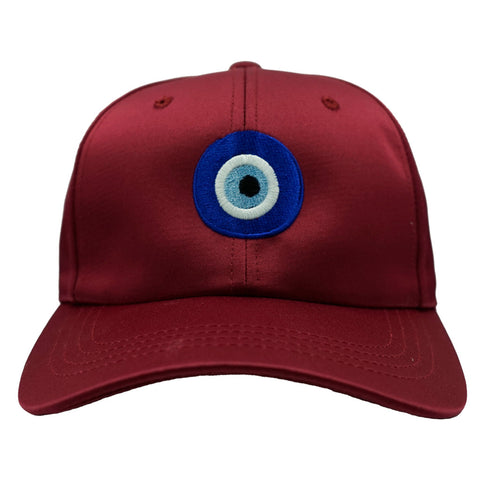 Evil Eye Dad Hat - Satin Maroon